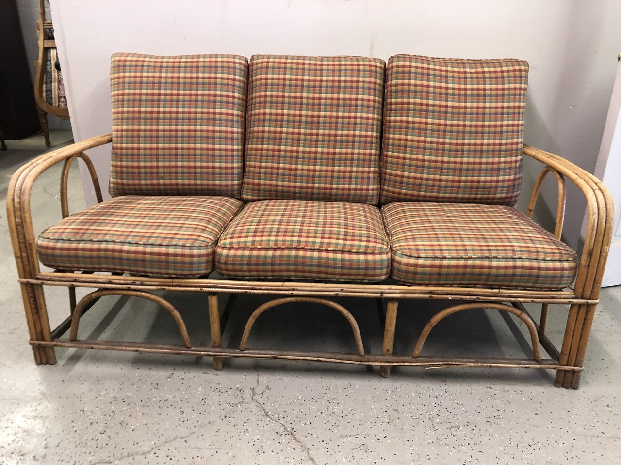 Rattan Sofa 5ft Rattan Sofa W Plaid Cushions