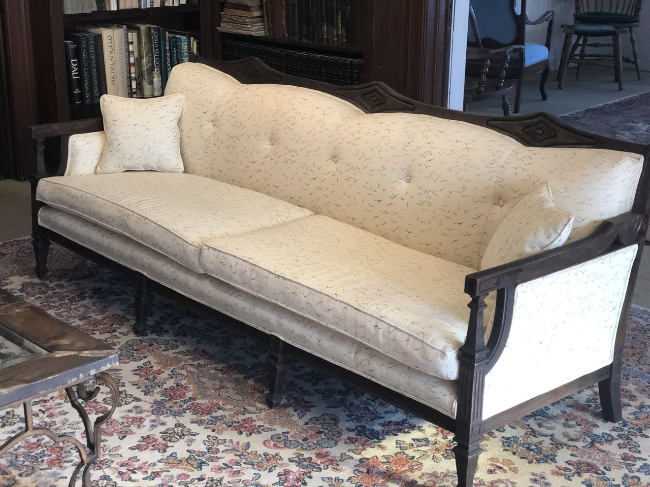 Sofa X Long Vintage 7 5ft Wood Sofa Reupholstered And Refinished