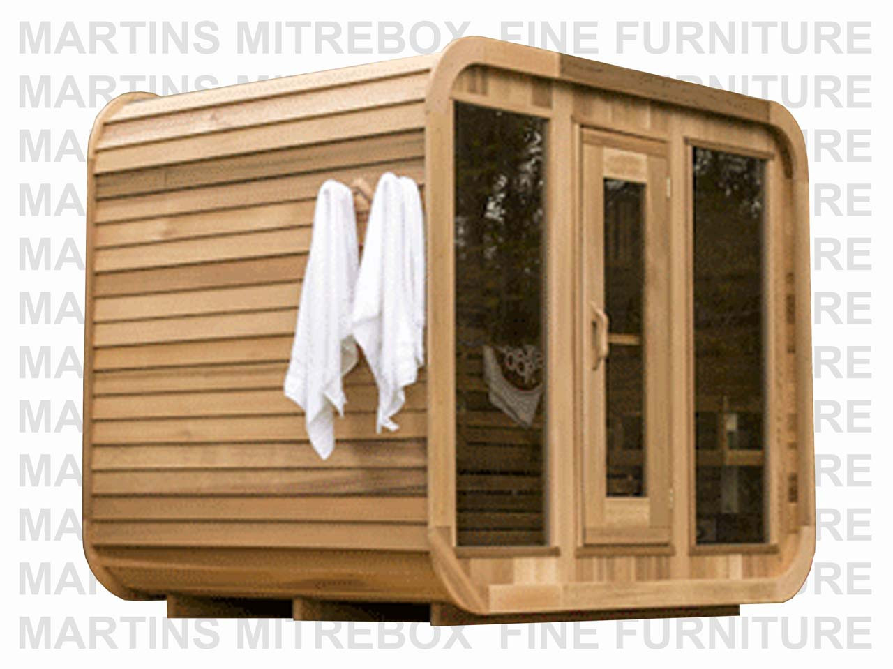 Sauna 24 Knotty Red Cedar Luna Sauna With 24 Porch Kit 96 W X 84 D Seats 2 4 People