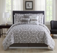 7 Piece Cal King Glamour Taupe/White Comforter Set
