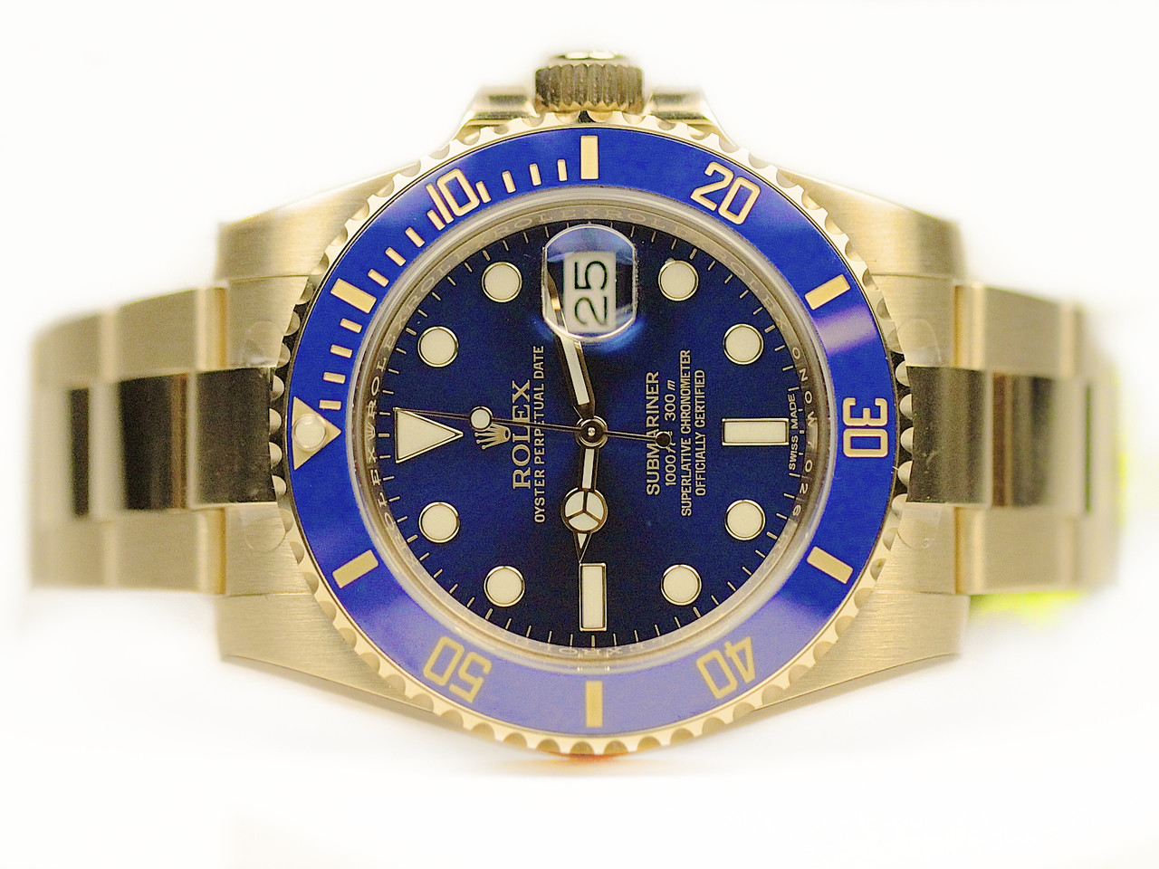 Rolex Second Hand Rolex Watch Blue 18ct Yellow Gold Submariner 116618lb