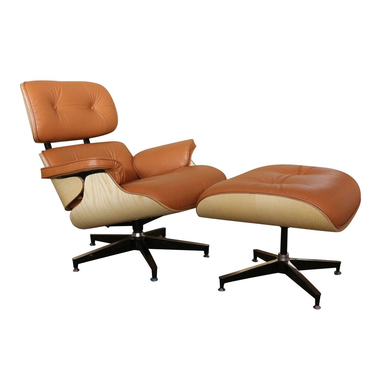 Charles & Ray Eames Sessel Replica Eames Lounge Chair Ottoman Tan Italian Leather Natural Frame