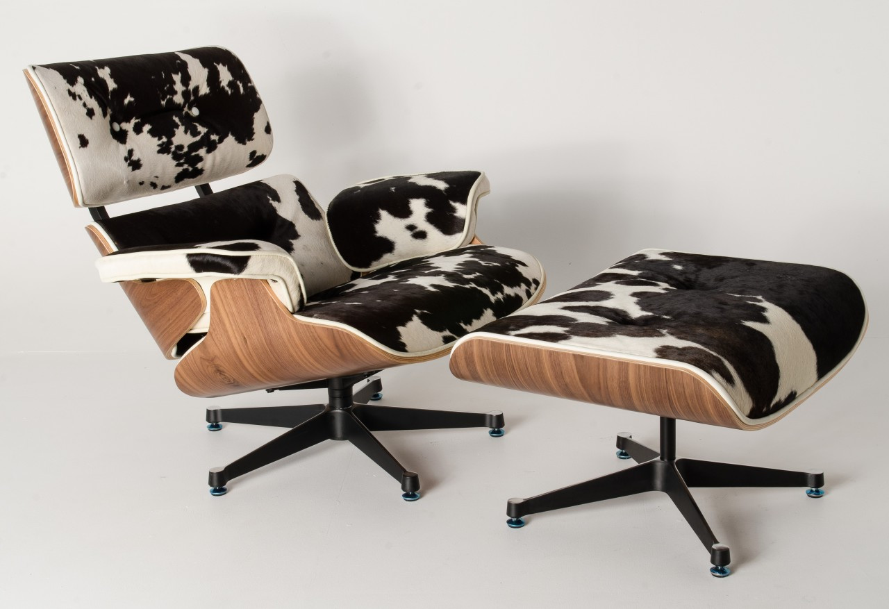 Eames Lounge Sessel Replica Eames Lounge Chair Ottoman Black Cowhide Leather