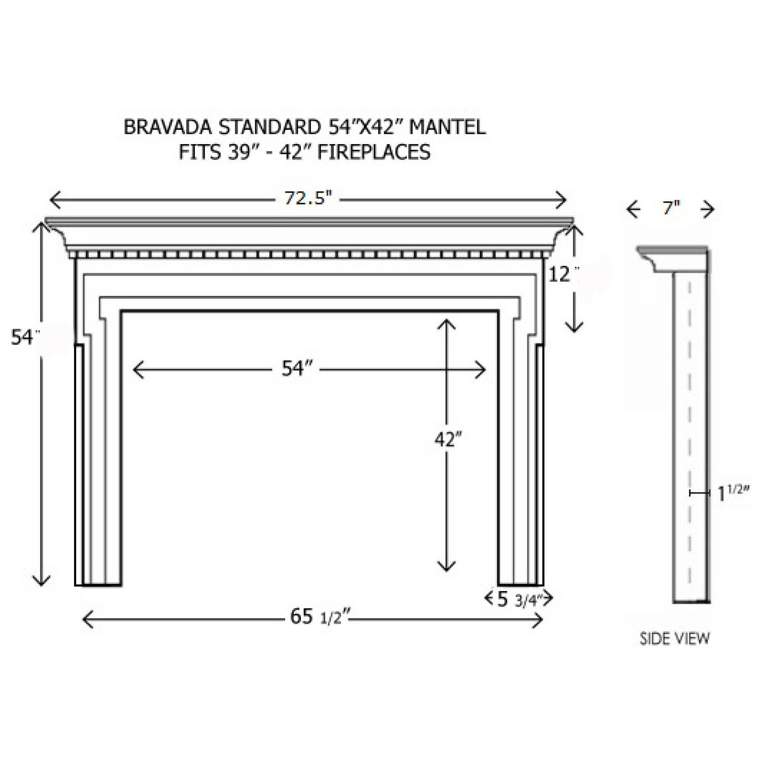 Fireplace Mantel Parts Bravada Wood Mantel Standard Sizes