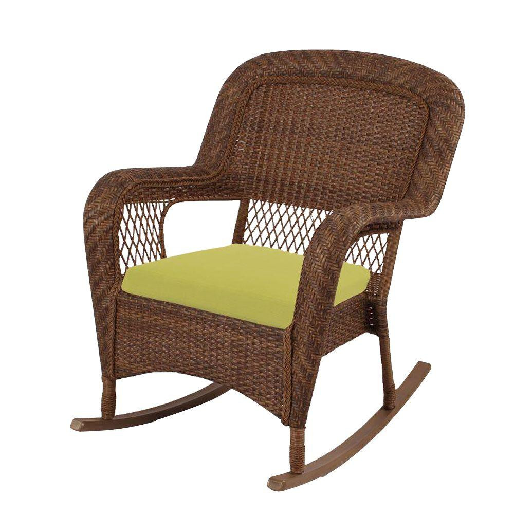 Patio Rocker Chairs Set Of 2 Charlottetown Brown All Weather Wicker Patio Rocking Chairs With Green Bean Cushion