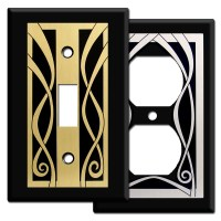 Ribbon Decorative Wall Plate Covers in Black - Kyle Design