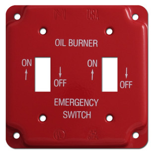 Red Emergency Double Toggle Oil Burner Utility Box Switch