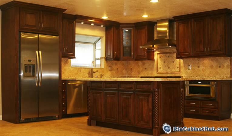 Stain Particle Board Kitchen Cabinets Chocolate Maple Glaze - Rta Cabinet Hub - Java Maple Glaze