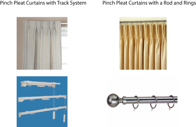 Pinch Pleat Curtain Rods - Rooms