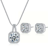 Princess Cut Diamond Necklace and Earring Set - AngelSale
