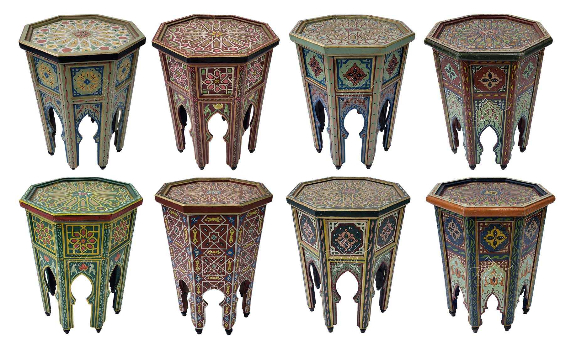 Moroccan Multi Color Hand Painted Side Table From Badia Design Inc