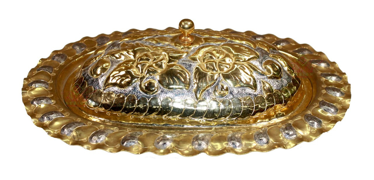 Gold Serving Tray Oval Shaped Engraved Gold And Silver Serving Tray With Lid Hd140