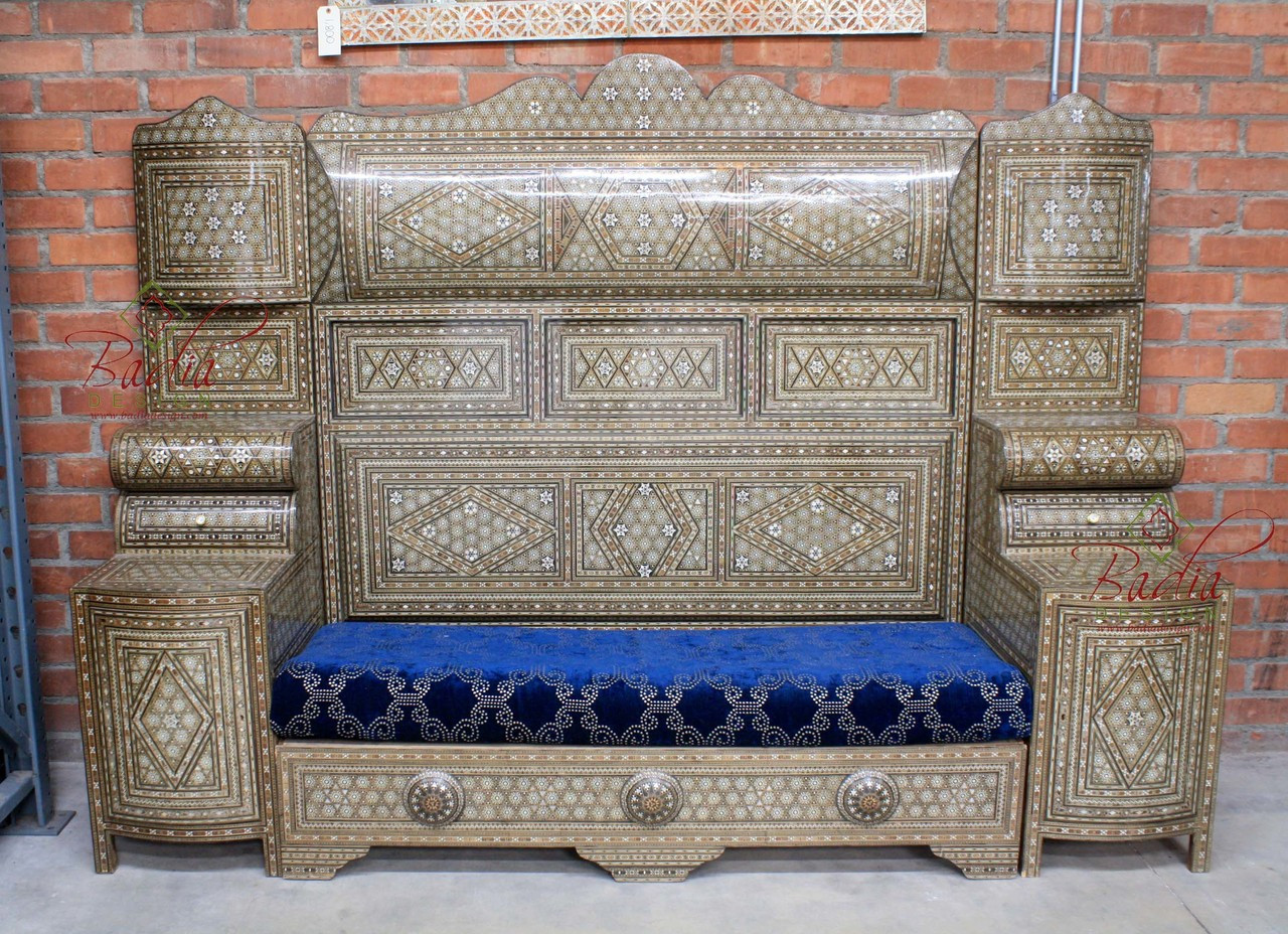 High Back Antique Sofa Large Vintage Syrian Style High Back Sofa Mop Ch022