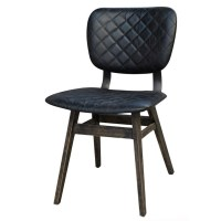 Sloan Quilted Ebony Leather Dining Side Chair