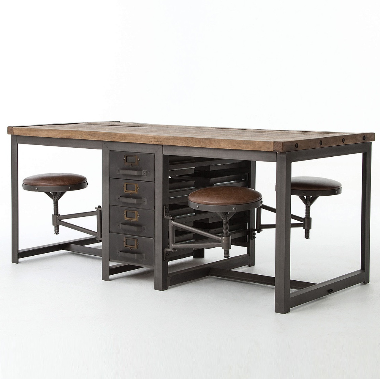 Industrial Work Table 25x40 Rupert Industrial Architect Work Table Desk With Attached
