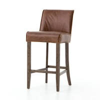 Urban-Rustic Chestnut Leather Bar Stool | Zin Home