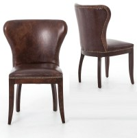 Richmond Vintage Tan Leather Wingback Dining Chair | Zin Home
