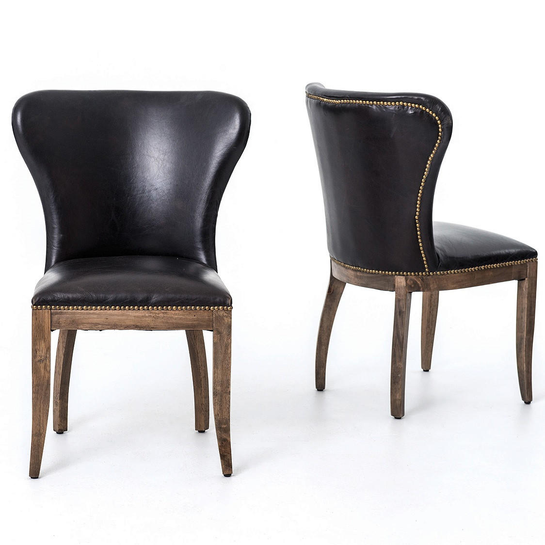 Leather Dining Chairs Richmond Black Leather Wingback Dining Chair With