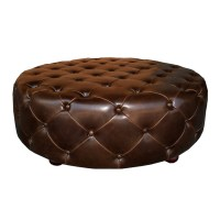 Soho Tufted Round Ottoman- Brown Leather | Zin Home
