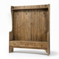 Concord Rustic Wood Entry Bench with Storage and Coat Rack ...