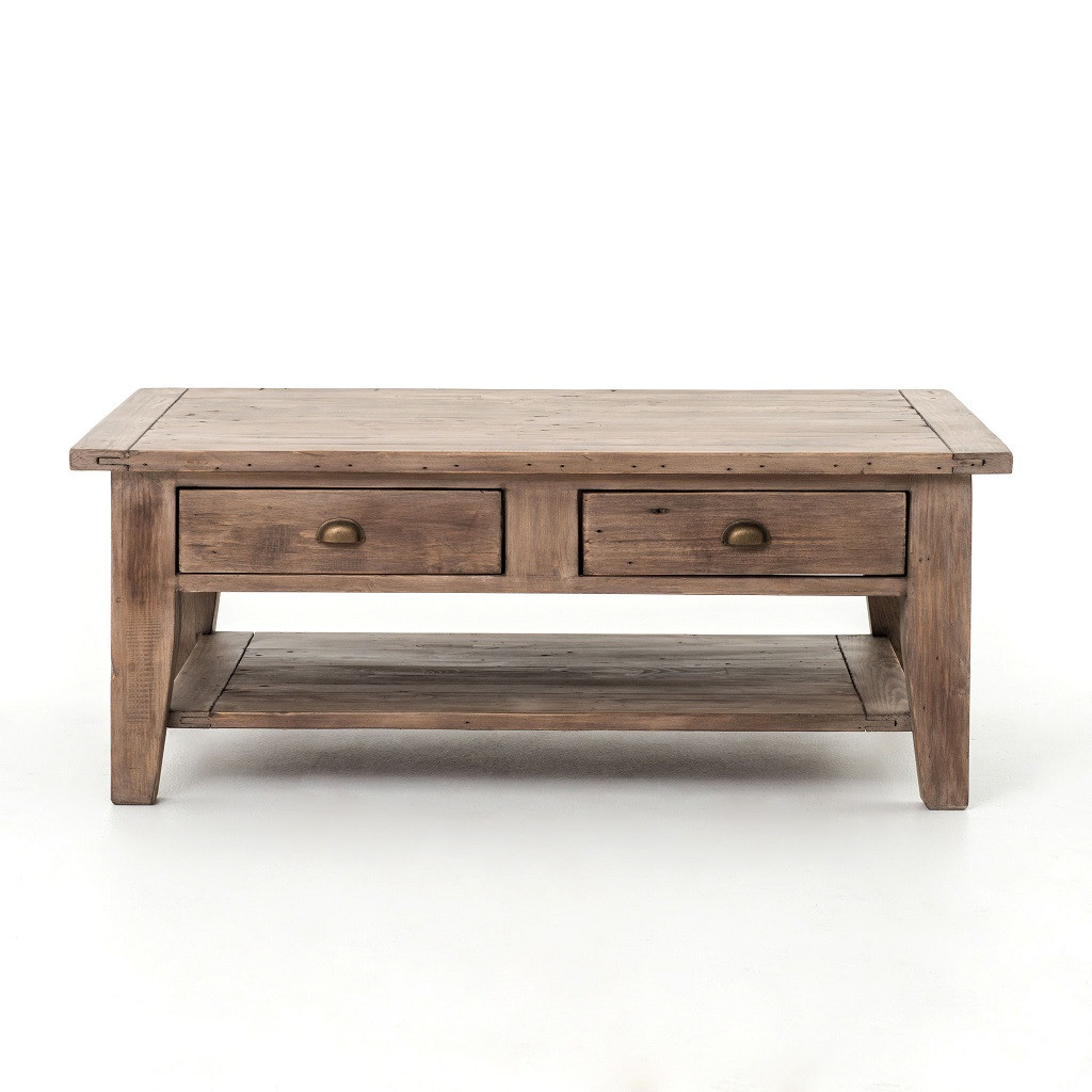 Coastal Coffee Table Coastal Solid Wood Rustic Coffee Table With Drawers Zin Home
