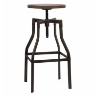Adjustable wood and metal bar stools