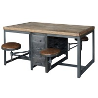Rupert Industrial Architect Work Table Desk With Attached