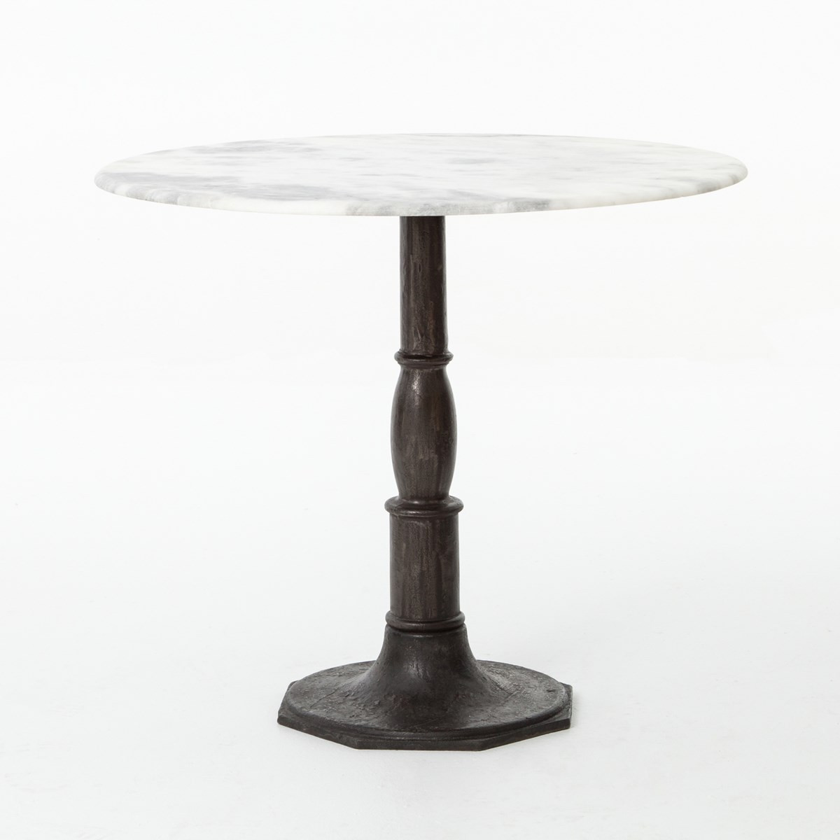 Cafe Table Tops French Industrial White Marble Top Round Bistro Table