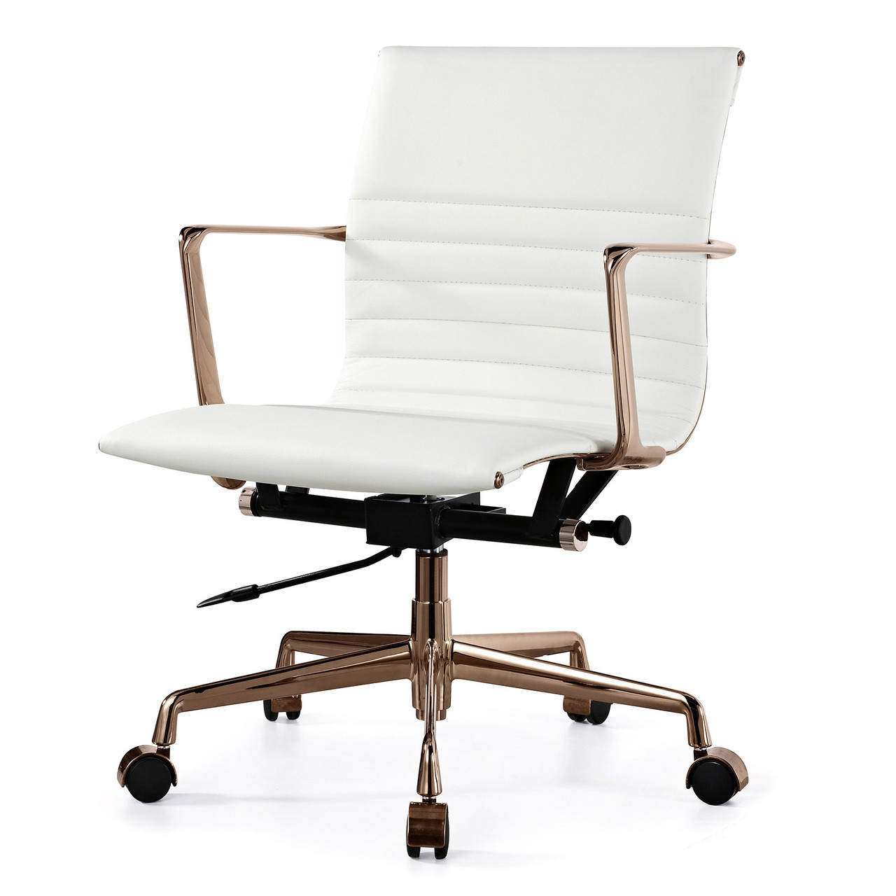 White And Gold Desk Chair White Italian Leather 43 Gold M346 Modern Office Chairs