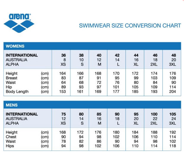 adidas swimwear size guide