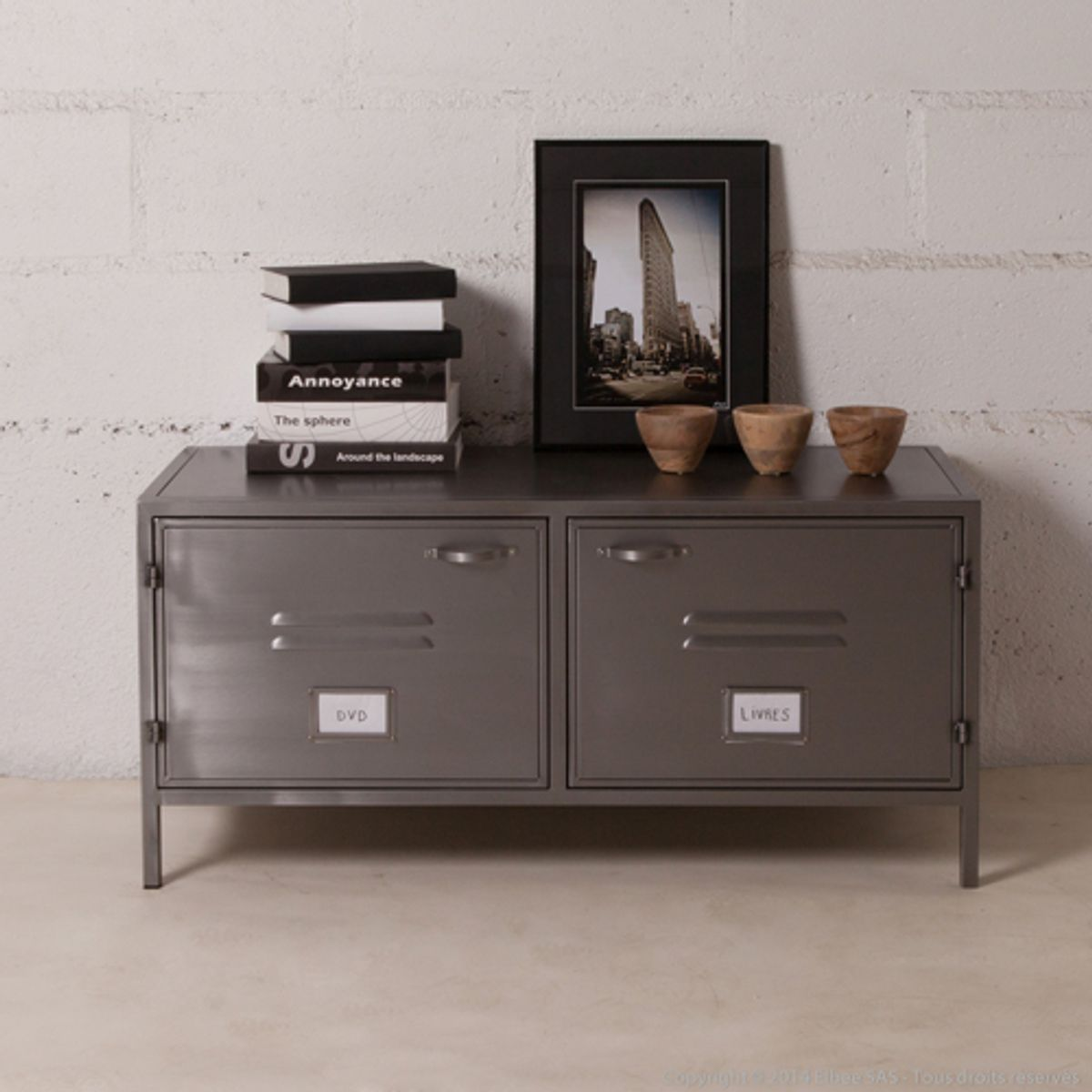 Casier Metallique Meuble Tv Buffet Bas Meuble Tv En Métal Gris 2 Portes Casiers Style