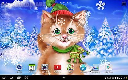 Cute Cat Wallpaper 3d Winter Cat Live Wallpaper Android Animiert Hintergrundbild