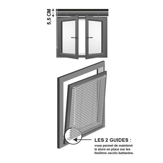 Store vénitien (50 x 90 cm) PVC Gris - Rideau / Voilage / Store - Eminza - Store Venitien Pour Porte Fenetre Pvc