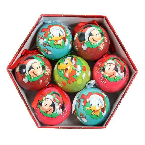 Decoration Noel Mickey Coffret De 7 Boules De Noël Disney Mickey - Boule De Noël
