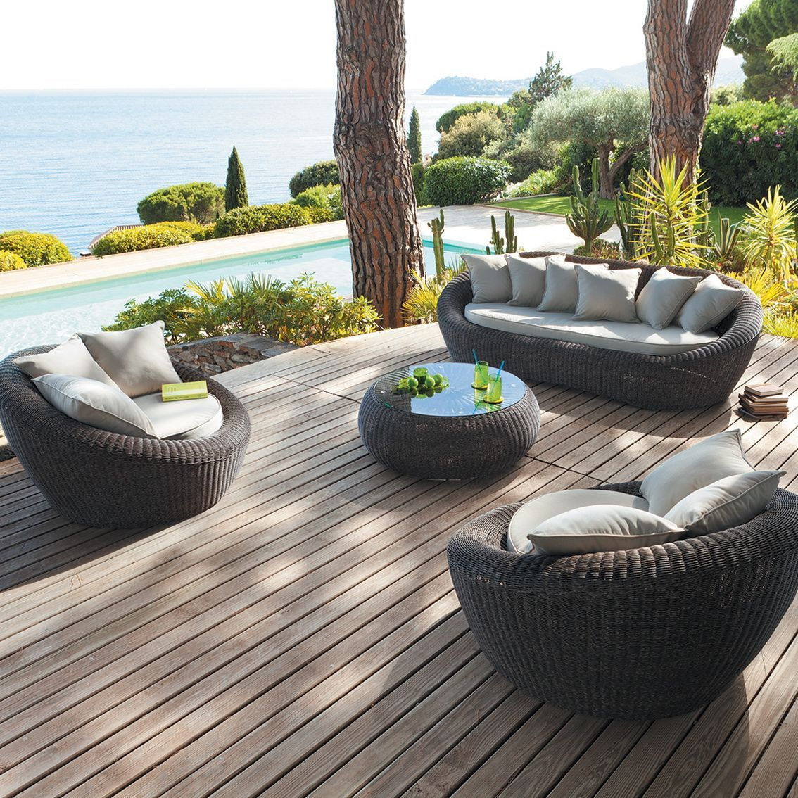 Stunning Salon De Jardin Resine Tressee Java Wood Hesperide ...