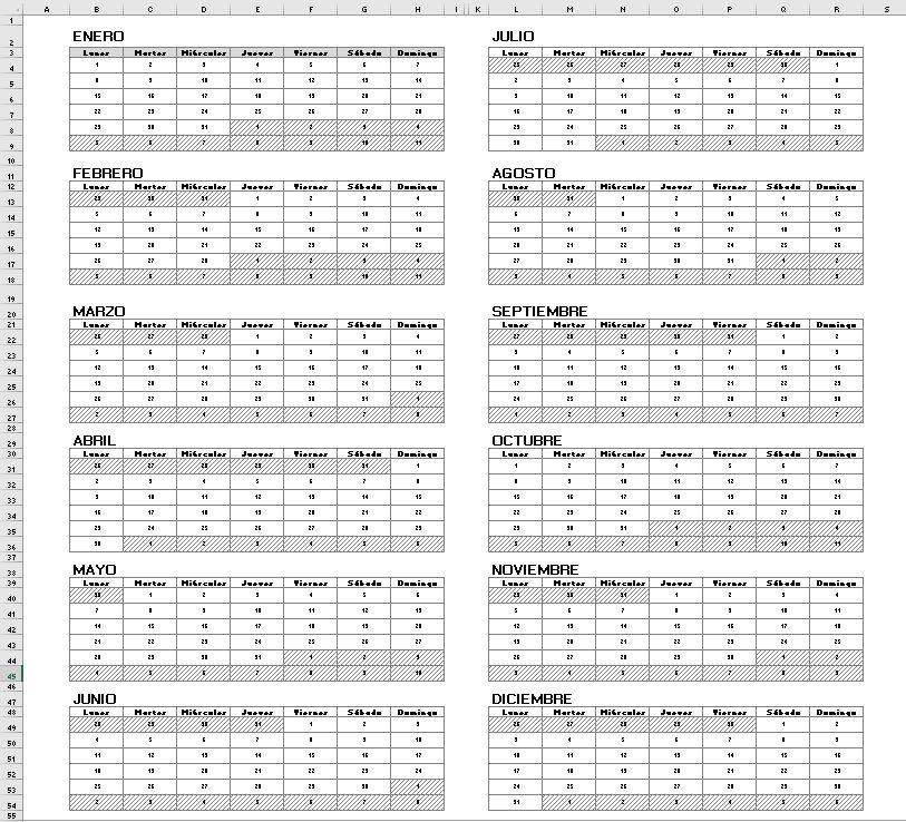 Calendario Excel 2018 - Excel y VBA