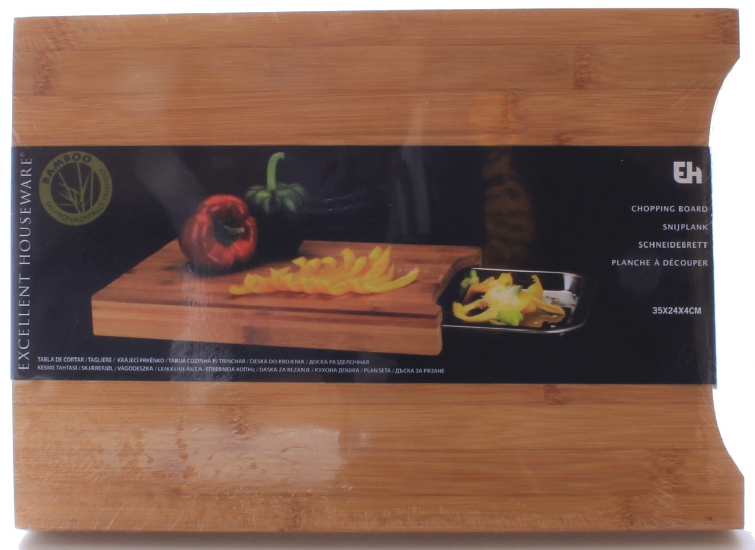 Tagliere Tiers Koopman Bamboo Chopping Board With A Stainless Steel Tray