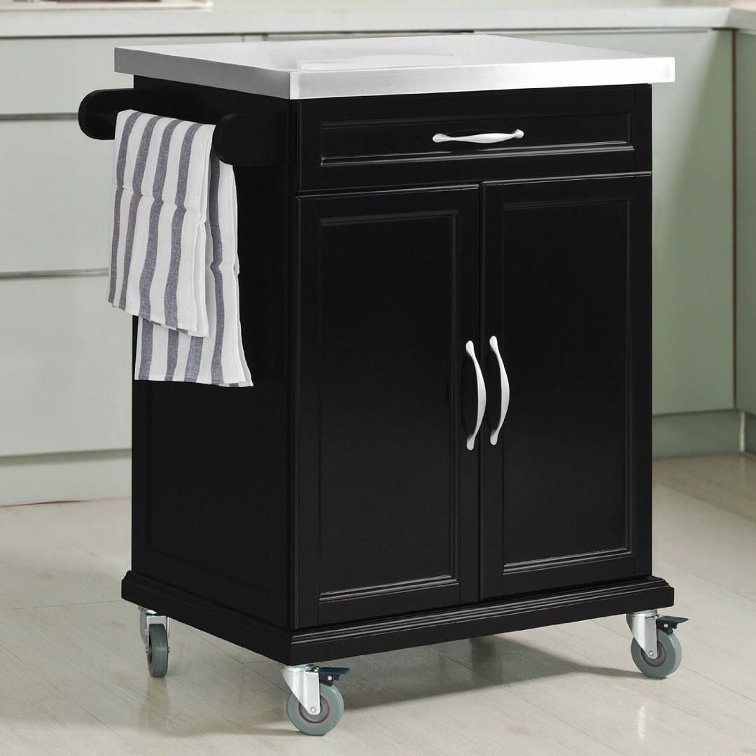 Sobuy Shop Sobuy Wood Kitchen Cabinet Kitchen Cart Island Storage Trolley With Stainless Steel Surface And Lockable Wheels Fkw13 Sch Black