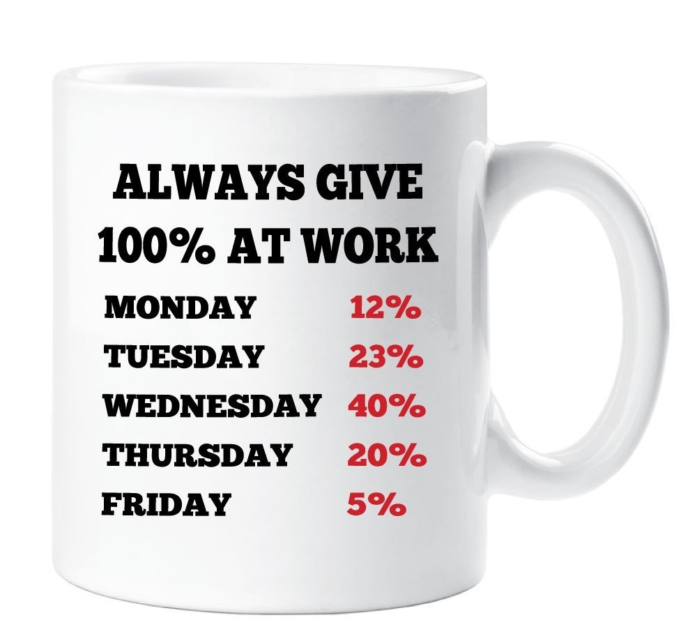 Funny Work Mugs Always Give 100 At Work Office Colleague Mug Gift Cup Ceramic Funny Novelty