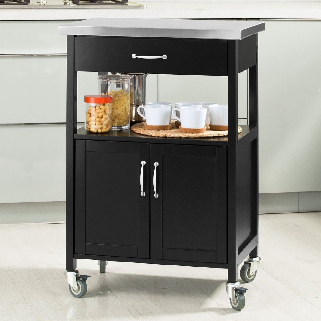 Sobuy Shop Sobuy Kitchen Cabinet Kitchen Storage Trolley Cart With Stainless Steel Top Black Fkw22 Sch