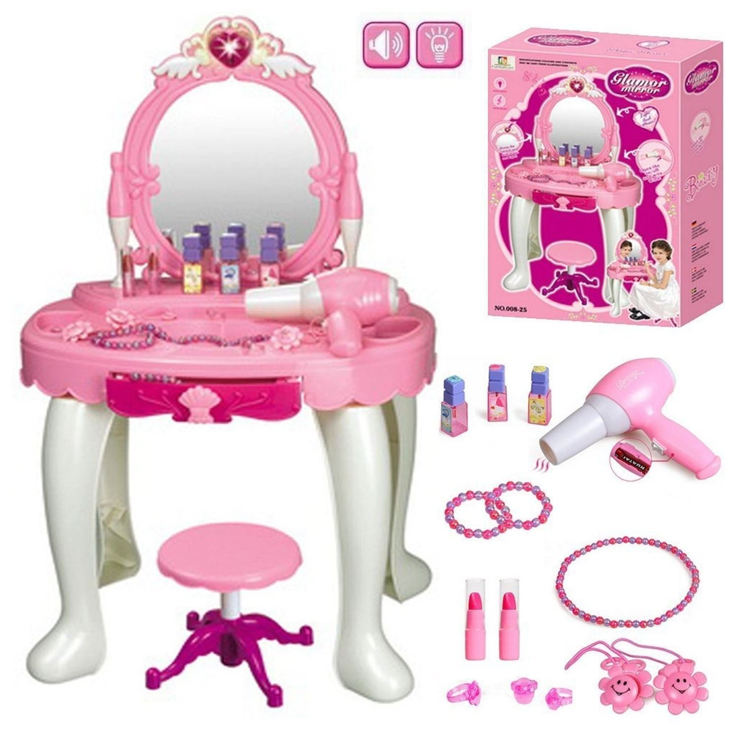 Girls Dressing Table Kids Girls Dressing Table Mirror Play Set Glamour Beauty Makeup Game Toy
