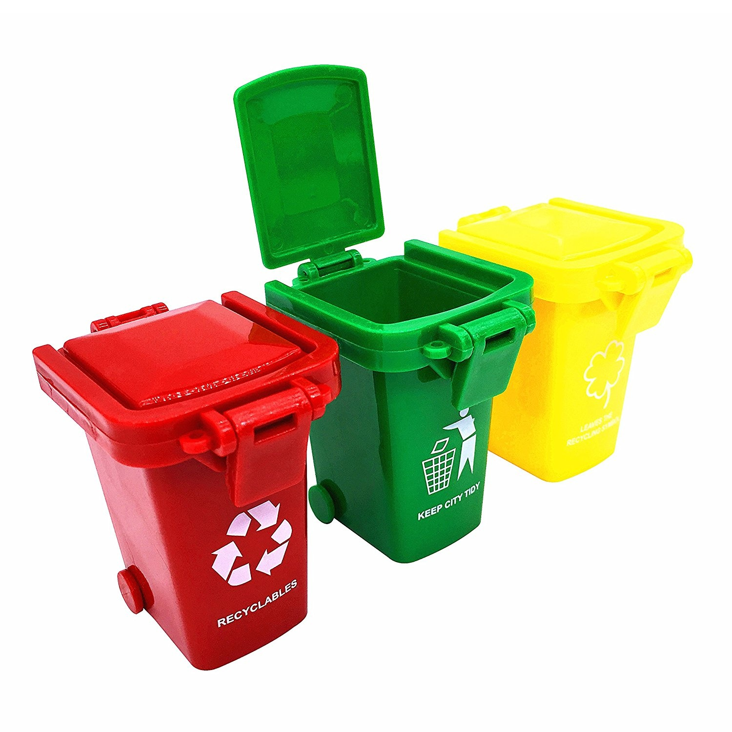 Mini Plastic Trash Can With Lid Trash Can Toy Garbage Truck S Trash Cans Original Colour Mini Curbside Garbage Bin Trashcan Kids Toddlers Toys