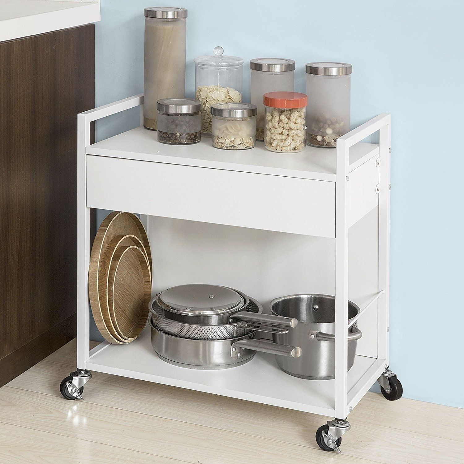 Sobuy Shop Sobuy Fkw50 W Home Kitchen Serving Trolley Storage Trolley With Drawer Storage Rack On Wheels White