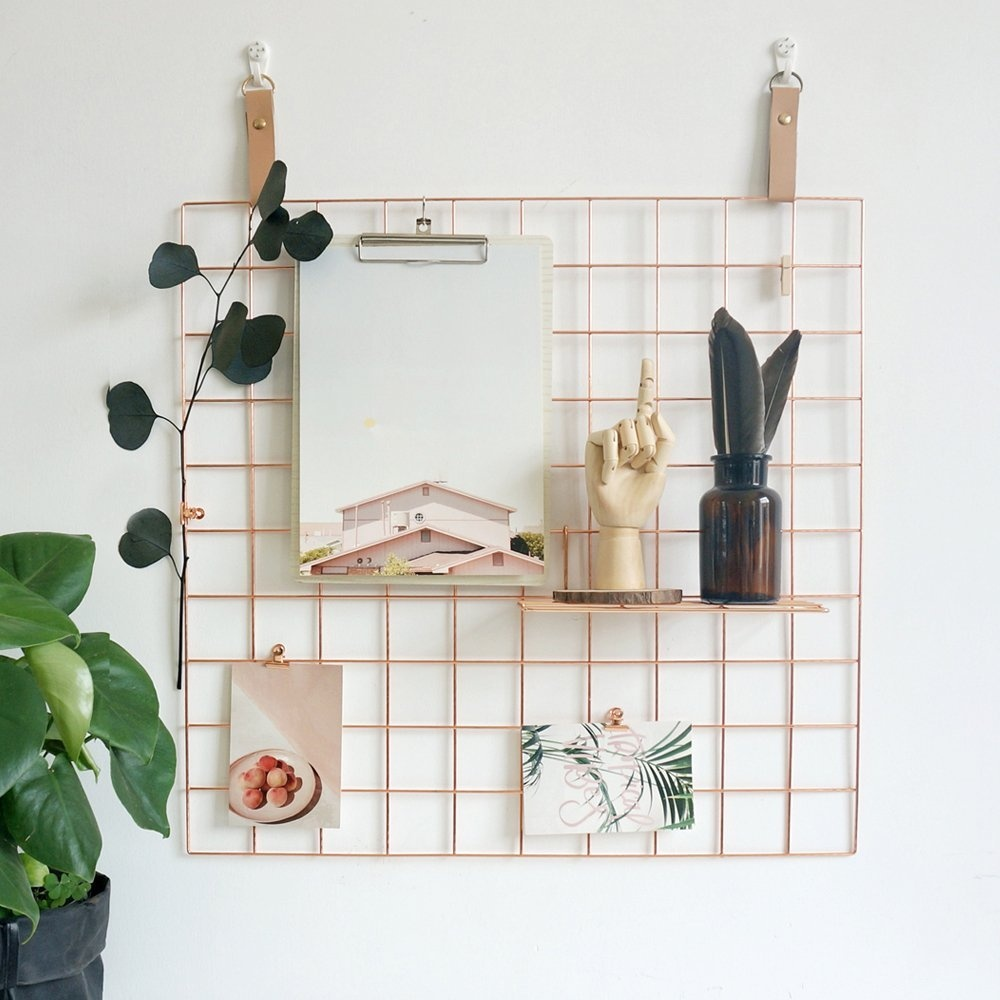 Wall Grid Wire Wall Grid Multifunctional Jewellery Organiser Metal Frame Mesh Photo Display Rack For Memo Artwork Photograph Rose Gold Bullet