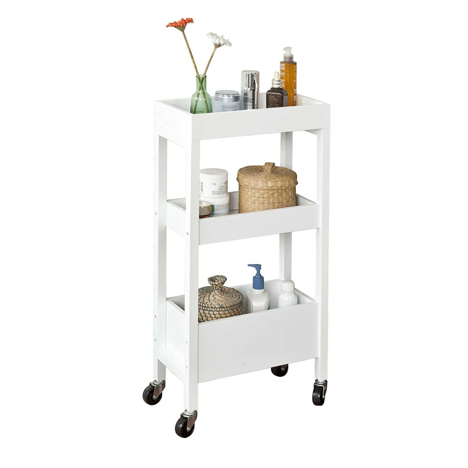 Sobuy Shop Sobuy Kitchen Trolley Servir Trolley 3 Shelves 4 Ruedas Blanco