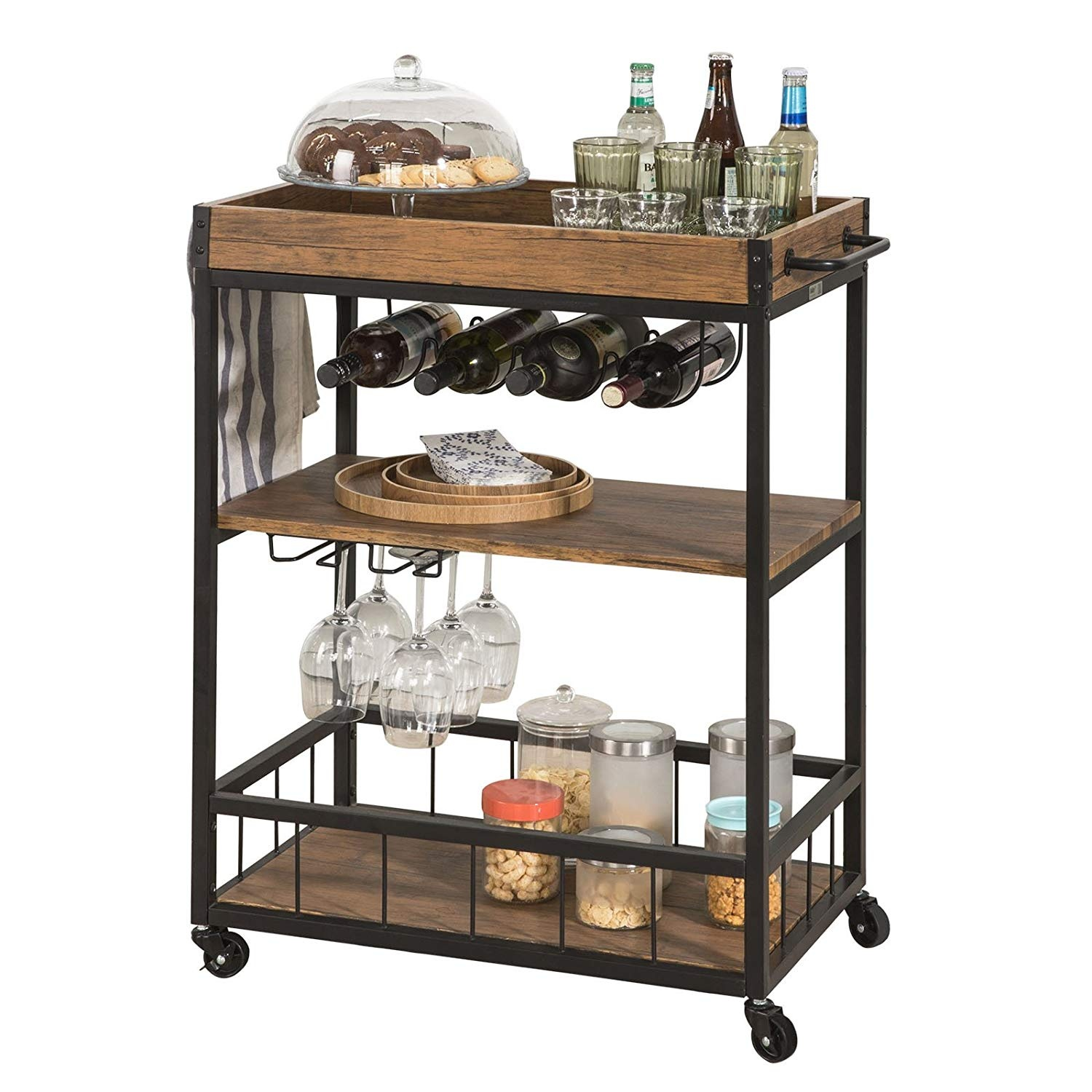 Sobuy Shop Sobuy Fkw56 N Industrial Vintage Style Wood Metal 3 Tiers Kitchen Serving Trolley With Wine Rack