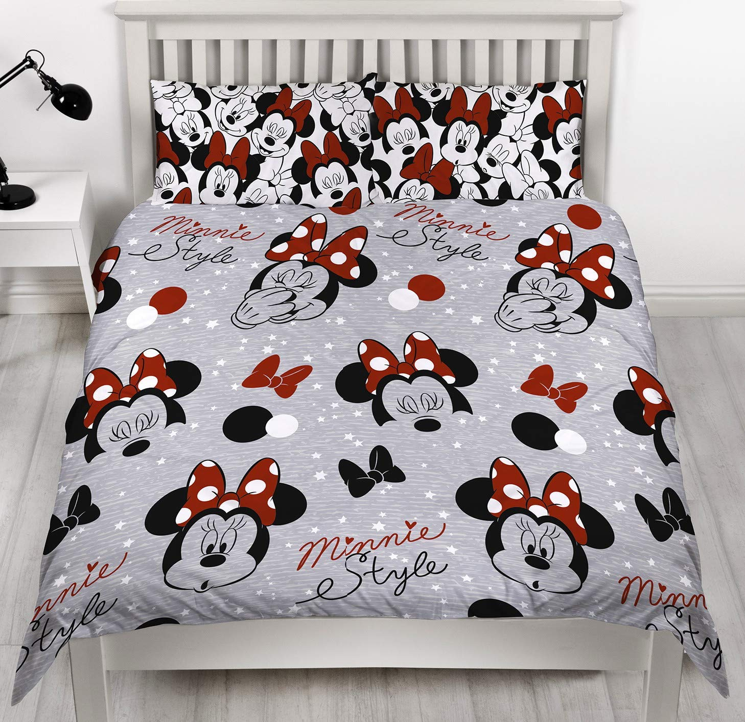 Mickey Mouse Bettwäsche Disney Minnie Mouse Grey Single Duvet Cover Reversible Cute Two Sided Design Kids Bedding Set Includes Matching Pillow Case