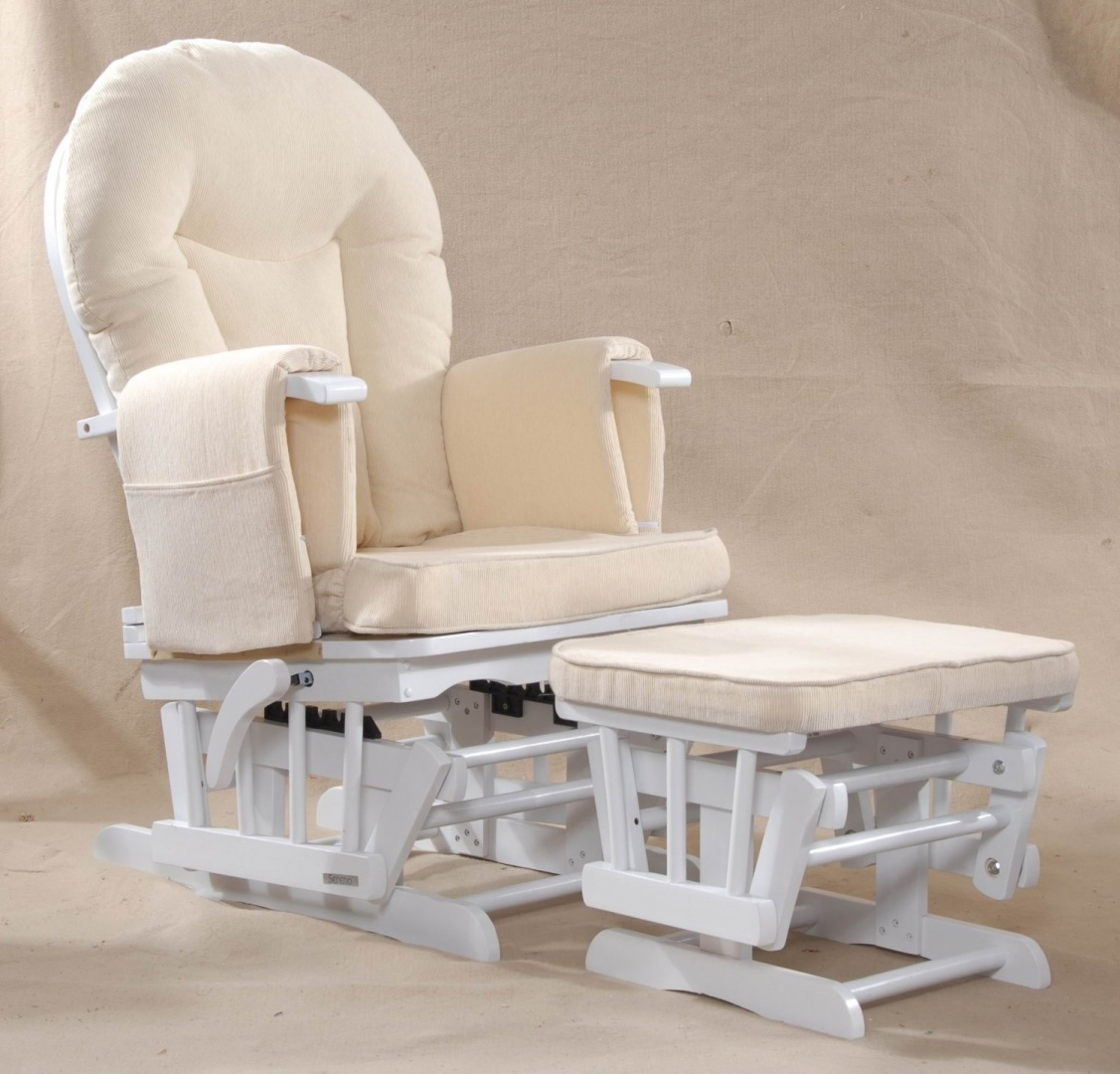 Baby Nursing Chair Sereno White Nursing Glider Maternity Rocking Chair With Glide Lock And Footstool
