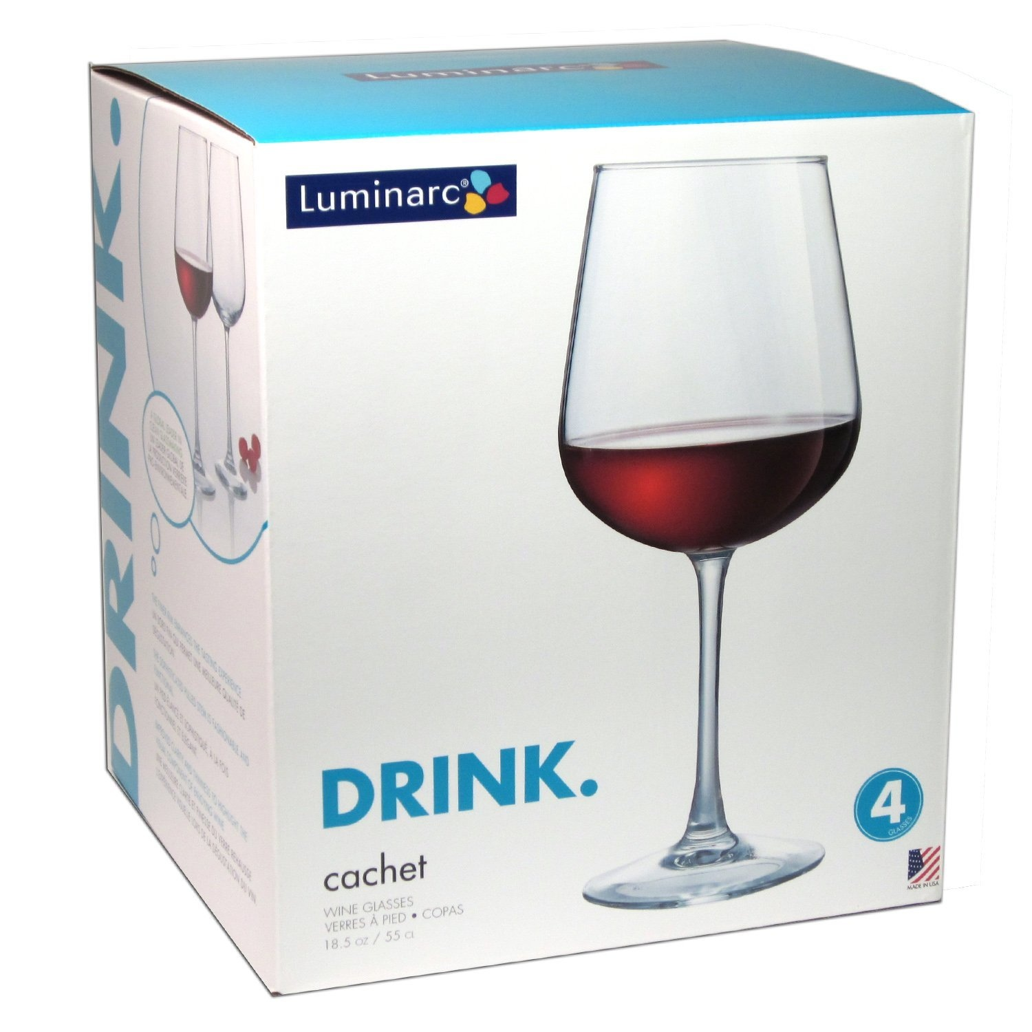 Luminarc Glass Arc International Luminarc Cachet Pinot Wine Glasses 550ml Set Of 4