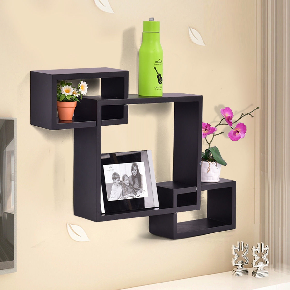Floating Desk Australia Costway Black Intersecting 3 Rect Boxe Floating Shelf Wall Mounted